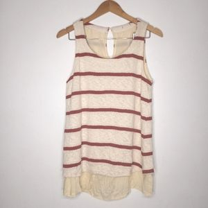 Splendid Cream and Red Striped Layered Sweater Tank Top Size Medium